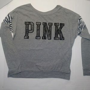 PINK Grey With Zebra Print Long Sleeve XS